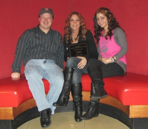 Lisa Guyer (center) with Jay and Katie
