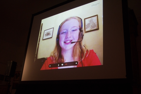 "Olivia Corish, the winner of the Fiber Optic Center Young Filmmaker Award for her film ""Buzzards Bay Is…,"" accepted her award via Skype."