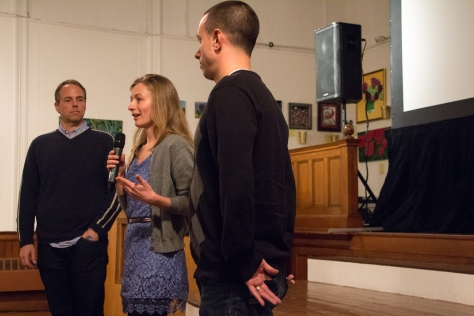 """From left, Ben Gilbarg, the director of """"American Dreams,"""" Elise Hugus, producer of """"Saving Paradise,"""" and Mark Rasmussen, president of the Buzzards Bay Coalition."""