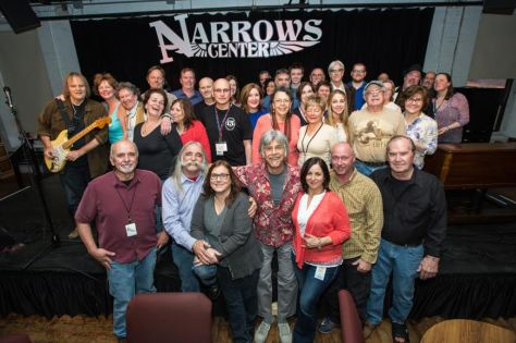 The Narrows Center for the Arts in Fall River, MA, is celebrating its 15th anniversary this year. Pictured is all of the dedicated volunteers and staff with performer Walter Trout at their 1,500th show. (Photo by Rick Farrell)