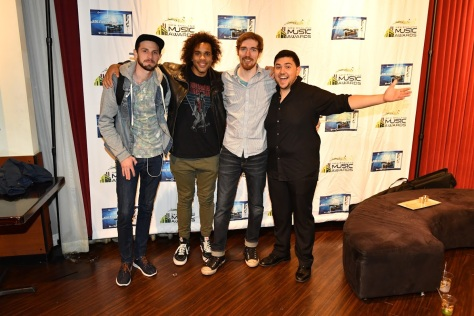 Dan Masterson and his band after winning The Last Band Standing Competition. From left, Jamie Howell, Alec Gaston, Dan Masterson, & Matthew Silva. (PHOTO BY PATRICK CREAN, SUBMITTED BY HAILEY MAGEE)