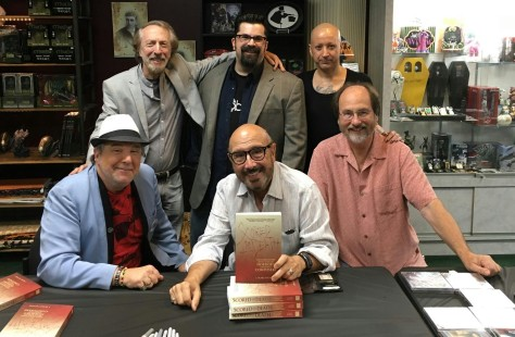 "J. Blake Fichera promoted ""Scored to Death"" with a signing at Dark Delicacies in Burbank, CA, which was attended by five composers. Front row, from left, are: Chris Young, Harry Manfredini, and Alan Howarth. Back row, from left, are Charles Bernsntein, Ficheaq and Joseph Bishara."