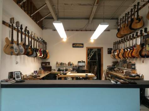 Inside the work space at Mouradian Guitar.
