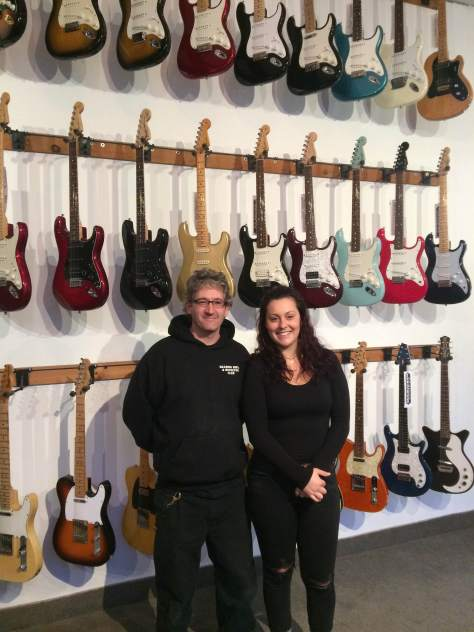 From left, Mouradian Guitar co-owner Jon Mouradian and Limelight Magazine writer Julia Cirignano.